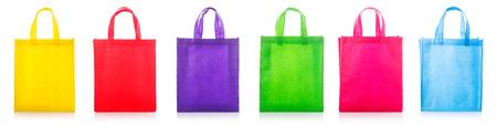 Set colorful cotton bag. Studio shot isolated on white background