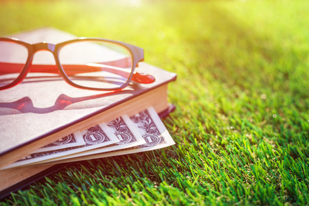 Close up banknote of US hidden in book on green grass Stock Photo