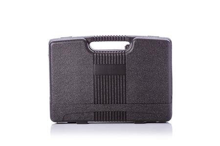 New square black tool box. Studio shot isolated on white background