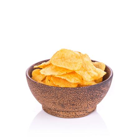 titbits: Potato chips. Studio shot isolated on white background Stock Photo