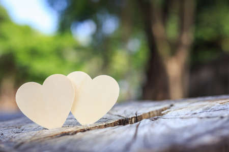 help section: Two bright wooden heart symbol on tree stump. Love tree or save world concept
