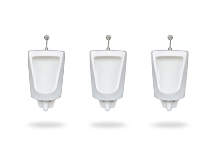 New row of ceramic outdoor urinals in men public toilet. Isolated on white background. Saved with clipping path