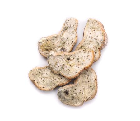 흰색 배경에 고립 된 빵에 몰드입니다. 평면도