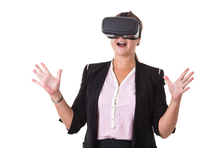 Businesswoman wearing black virtual reality glasses isolated on white background