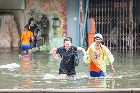 flood area: BANGKOK, THAILAND - OCTOBER 14 : Flooding in Din Daeng District after the heaviest rains in 20 years in Bangkok on October 14, 2017.