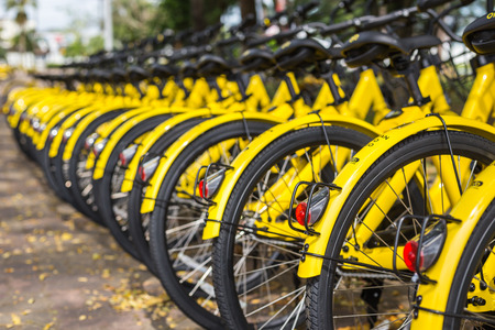 PHUKET, THAILAND - JANUARY 13, 2018 : The yellow bicycles parking in the park for the smart city project managed by government and support by Ofo bicycle rental company in Phuket on January 13, 2018.
