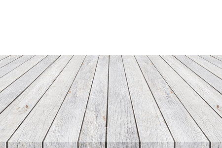 mpty top of wooden table counter isolated on white background. Saved with clipping path. For photo montage or product display