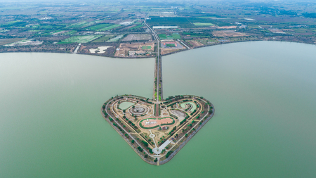 The Holy Heart Land - Talayluang in Sukhothai,Thailand. Monkey's Cheeks or Kaem Ling (Thai name) project is a flood control project based on a suggestion of the King Bhumibol Adulyadej of Thailand Archivio Fotografico