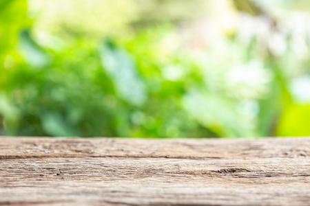 Empty space of top vintage wooden table or counter and sunny abstract blurred bokeh background. For photo montage or product display design Stock Photo