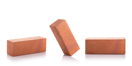 New red terracotta brick for build the wall isolated on white background