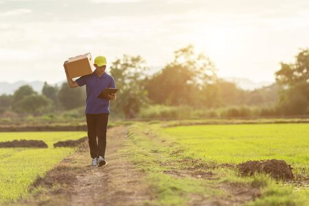 Delivery man holding brown parcel or cardboard boxes and delivery to customer at countryside and view of rice field. Can be delivery to anywhere concept Zdjęcie Seryjne