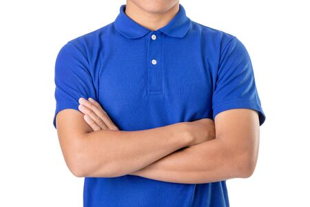 Young Asian man wear blank of blue polo t-shirt. Studio shooting and isolated on white background Zdjęcie Seryjne