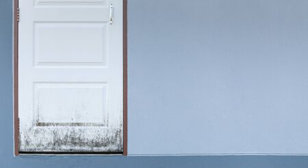 White wooden door getting black molds or fungi effect from rainy season.