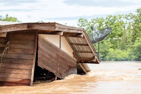 House in high level water in flooding situation at Sukhothai, Thailand