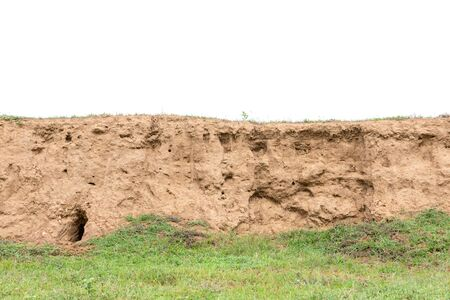 Layers of soil with green grass growing isolated on white
