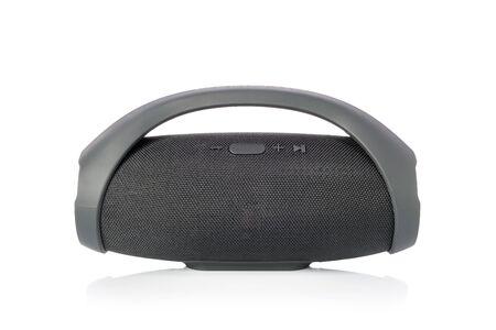 Black wireless portable  speaker, Mobile speaker isolated on white