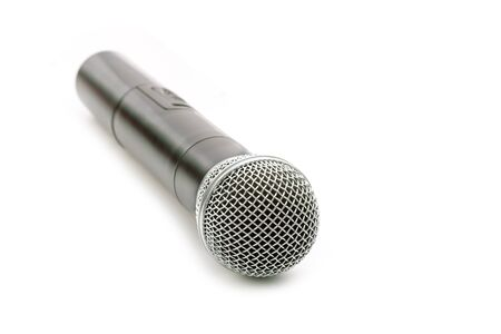 Close up new wireless microphone isolated on white background Фото со стока