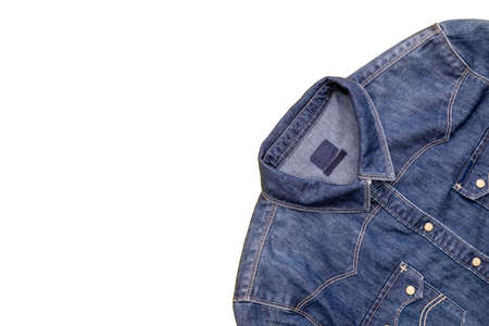 Top view new blue jean jacket isolated on white background