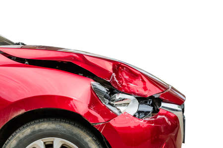Close up the right front of red modern car got damaged by accident. Isolated on white background. For advertising of insurance or car repair concept