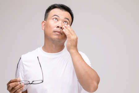 Eye irritation concept : Portrait of Asian man in posture of eye tired,  irritation or problem about his eye. Studio shot isolated on grey background Stockfoto