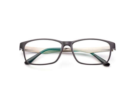 New black eyeglasses with clear lens isolated on white background