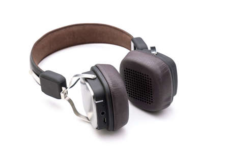 Close up black Headphone or Headset on white color background. Copy space for text or design Stockfoto