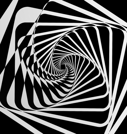 Spiral motion black and white abstract background Ilustração