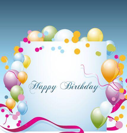 Moderne fond d'anniversaire coloré avec des ballons et des confettis place pour le texte.