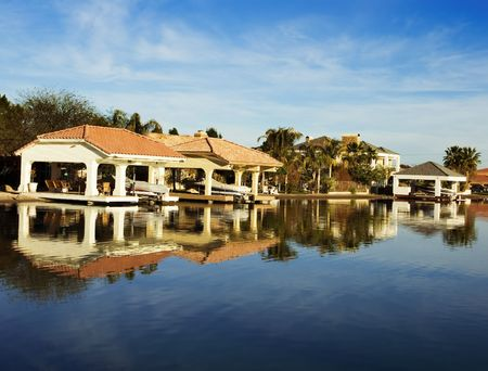 Lake Side Luxury Homes Stock Photo
