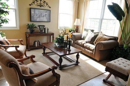 Bright modern interior Design with hard wood flooring photo