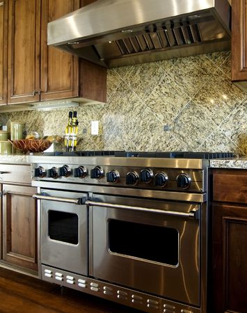 domestic kitchen: Luxurious Kitchen Stock Photo