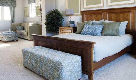 retreats: Beautiful bedroom interior design Stock Photo