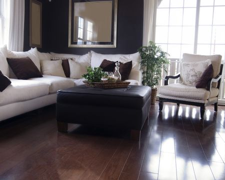 wood flooring: Beautiful living room interior design in new home
