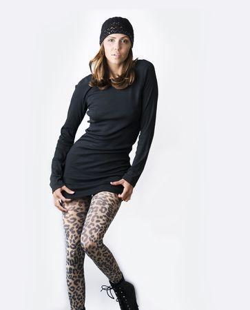 Beautiful tall and slim elegantly dressed fashion model