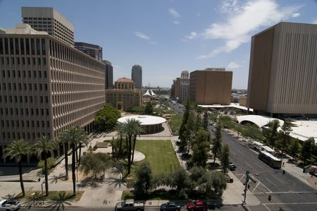 Phoenix Down town entertainment and banking area. photo