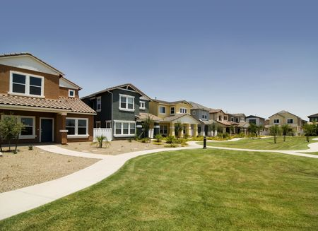 homeownership: Row of houses in new suburban community
