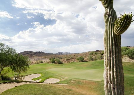 scottsdale: Beautiful golf course with Arizona cactus in foreground Stock Photo