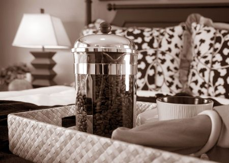 Breakfast and coffee in bed. Stock Photo - 3562314