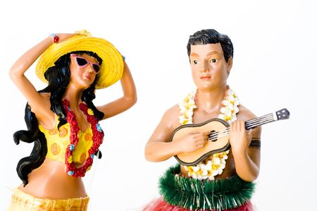 figurines: Novelty kitsch performing hula man and woman