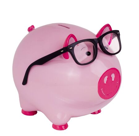 spectacle: Piggy bank wearing black spectacle glasses   Stock Photo