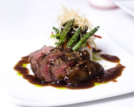 A gourmet fillet mignon steak at five star restaurant. photo