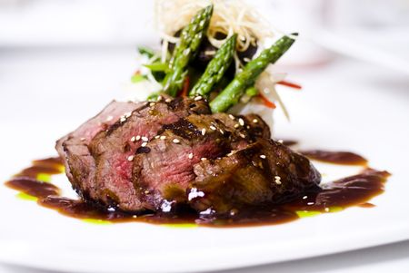 beef: A gourmet fillet mignon steak at five star restaurant. Stock Photo