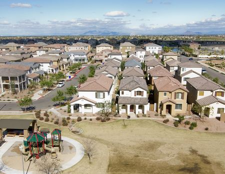Community shot from high vantage point of housing development Stock Photo