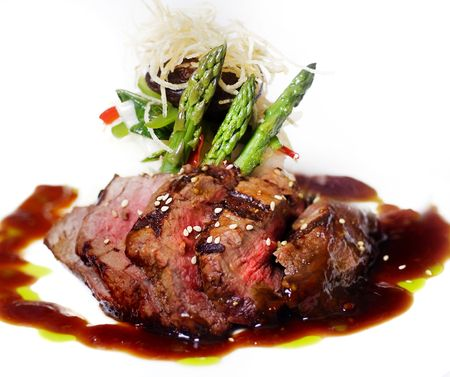 steak plate:  A gourmet fillet mignon steak at five star restaurant.