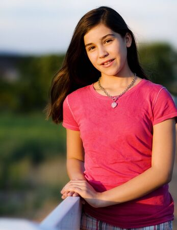 tween girl:  Portrait of a pretty young girl Stock Photo