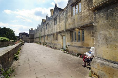 Row of ancient old stone houses in Chpping Campden photo