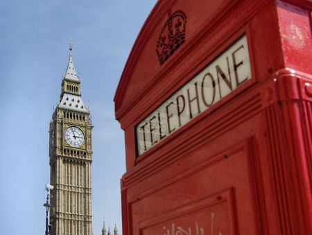 huge: Big Ben and a Londeon British tradition phone box booth Stock Photo