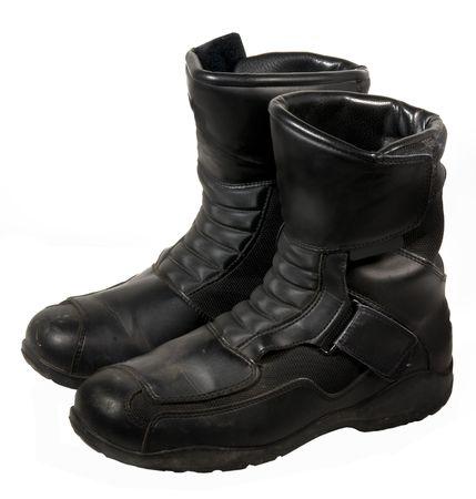 steel toe boots: Heavy duty leather biker boots Stock Photo