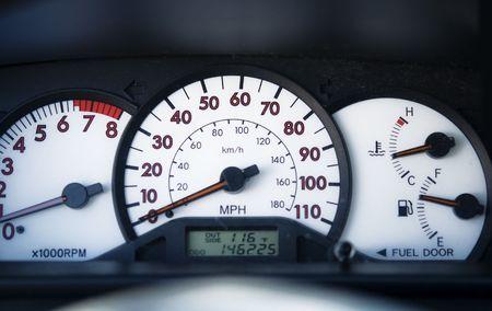 Car speedometer on dashboard