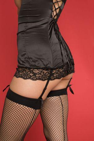 fesses black: Sexy femme portant de la lingerie et des bas jarreti�re Banque d'images